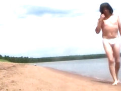 Nude hike on a beach in the Apostle Islands