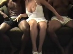 Horny wife and two black studs