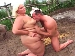 Extremely chubby blonde fucked like in the a pigsty