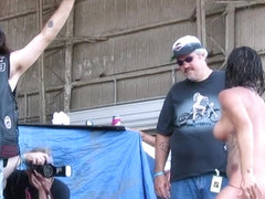 fresh real women competing in biker rally wet tshirt contest