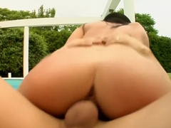 Flawless brunette Larissa works her juicy snatch on a throbbing dick