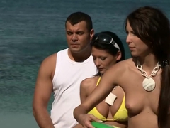 Naughty group sex tournament on the beach part 2