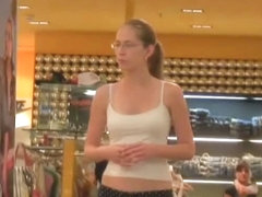 Sexy girlfriend walking the mall in her underpants