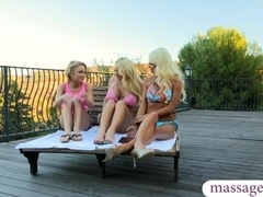 Two blondes turned a massage session into a lesbian fun