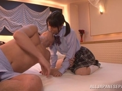 Amazing Japanese schoolgirl Koharu Aoi gets mouthful of cum