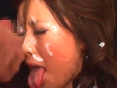 Cute Japanese Rio Hamasakigets loads of cum on her face