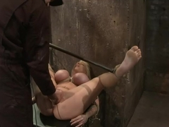 California blond with huge tits has them bound to her knees & spreadMade to squirt & scream!