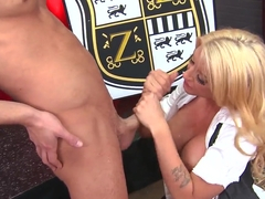 Leya Falcon swallowing a big delicious cock and riding it