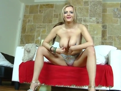 Stunning blonde whore Candy Alexa is playing with her cunt