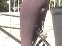 Sexy girl on bicycle on the street candid voyeur movie 04k