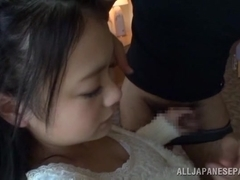 Kana Tsuruta busty Asian teen shows ass and gets doggy style