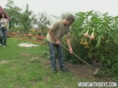 Hot Euro Mom gives the gardener a little extra for his work