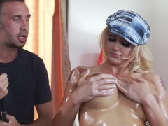 Keiran Lee oils sweet boobs of Leya Falcon