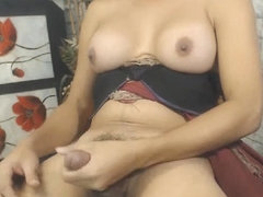 Hot Busty Tranny Self Sucking Cock