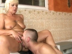 Blonde granny gets drilled by younger stud