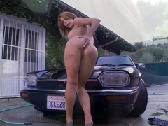 Big boobed diva Alexa Nicole washes her car
