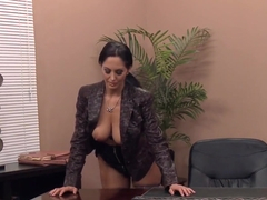 Pretty Ava has big boobs and wants to use them in office