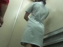 Panty sharking adventure for hot nurse in the lift