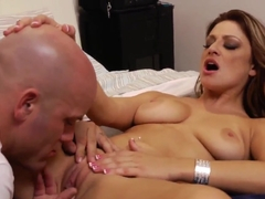 Carmen McCarthy invites Derrick Pierce for oral sexy games in her bedroom