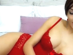 Delicate beauty APureEssence posing in red underwear