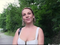 Busty Czech student fucks outdoor pov for cash