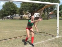Molly Cavalli and Tiffany Tyler play football