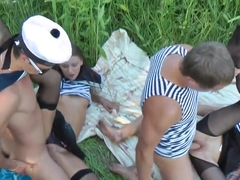 Adeline and Joana get fucked proper outdoors