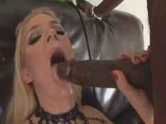 Exciting blonde Heidi Mayne seduces black man and gets in ass