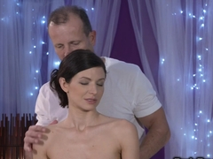 Hairy brunette gets fucked by masseur