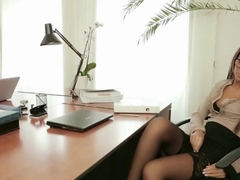Irresistible Alexis Brill getting slammed hard on the office desk