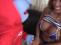 Richelle Ryan plays with her naughty toy
