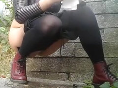 Compilation of chicks secretly filmed pissing outdoors