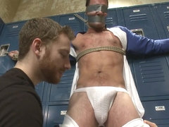 Captured Baseball Stud gets Edged in the Locker Room