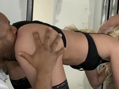 Pole dancer Jessie Volt takes on two cocks