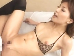 Crazy Japanese chick Akane Hotaru in Fabulous Threesomes, Stockings/Pansuto JAV scene