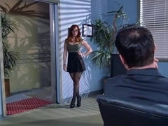 Kinky redhead Dani Jensen pounded hard at her office desk