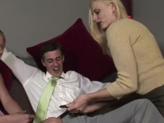 Lucky Guy Gets his Cock Sucked by Mother and Daughter