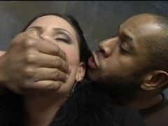 Black cock fucking a sweet white MILF hard and deep