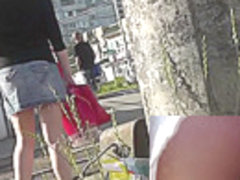 Really hot upskirt views of the sweet slender chick