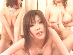 Crazy Japanese chick Chichi Asada, Rio Hamasaki, Megu Ayase in Best Gangbang, Group Sex JAV scene
