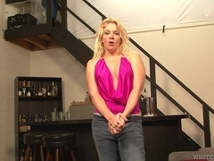 Femdom porn video with blonde and her humble partner