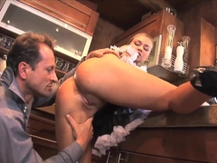 Maid Mia Leone fucks with her mature boss