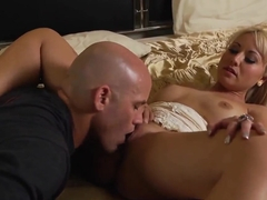 Blonde Jasmine Tame gets a nice pussy eating by bold guy Derrick Pierce