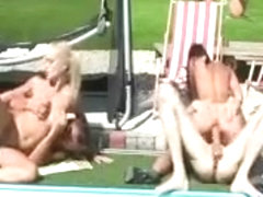 CFNM femdom babes fucking their subject by the pool
