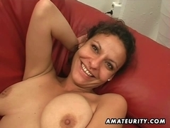 Dilettante girlfriend toys and sucks with cum in face hole