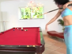 Ebony Daiquiri Divine decides to dilute boring billiard playing with hot posing