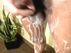 Ebony tranny gets covered with whipped cream and jerks