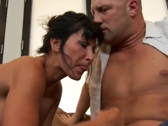 Muscled Christian nails hard busty milf Lezley Zen