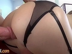 Tgirl in stockings fucked