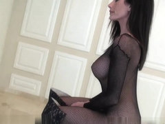 Erotic erection controlling beauty in bodysuit